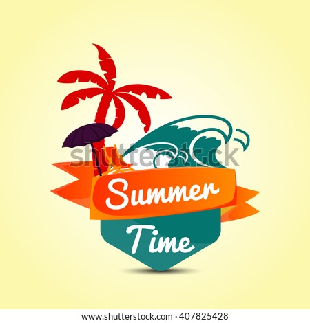 Summer Time in Beach Sea Shore with Realistic Objects. Vector Illustration.