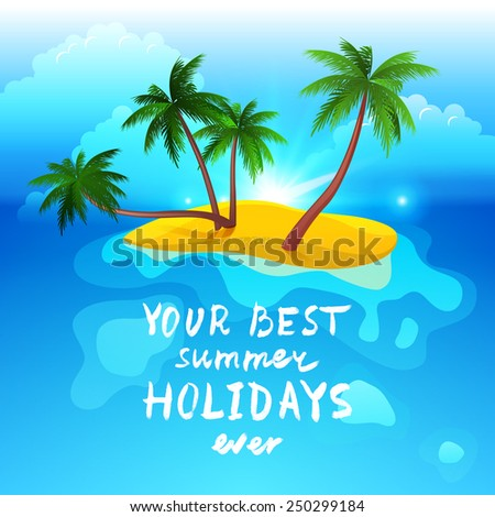 Summer time landscape with tropical island - stock vector