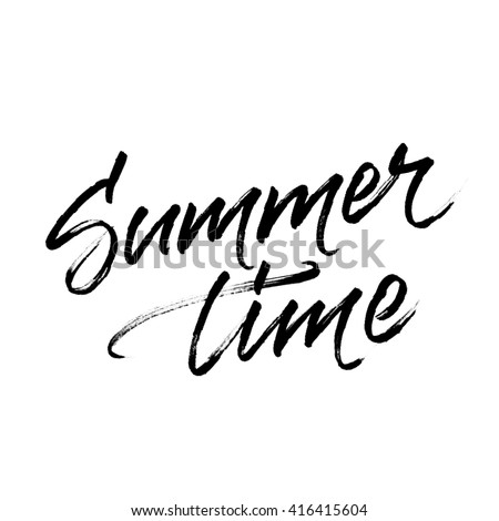 Summer time lettering with halftone effect texture. Vector modern calligraphic design isolated on white background. Inscription for summer card, banner, poster, party invitation or t-shirt design. - stock vector