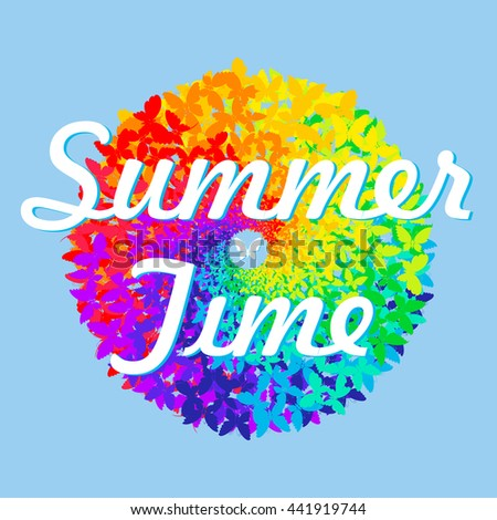 Summer time. Multicolored bright butterflies on blue background. Silhouette of butterfly. Round with text. . Color circle, range. Vector illustration, background, wallpaper. - stock vector