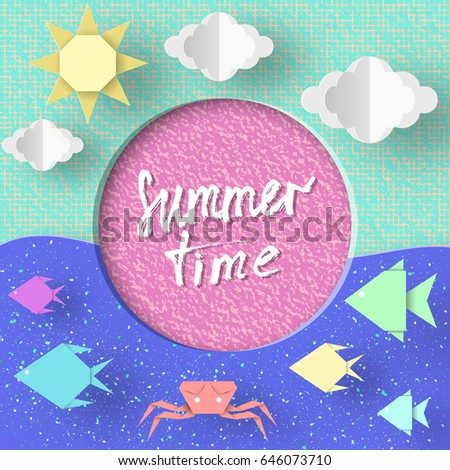 Summer Time Paper Concept Origami Symbols Stock Vector 646073710