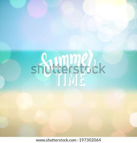 Summer time. Poster on tropical beach background. Vector eps10.