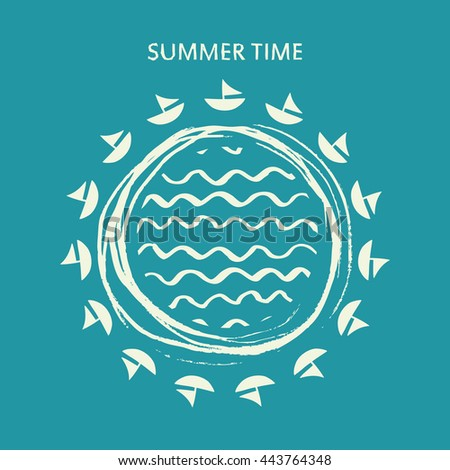 Summer time poster. Vector illustration of summer time background. - stock vector