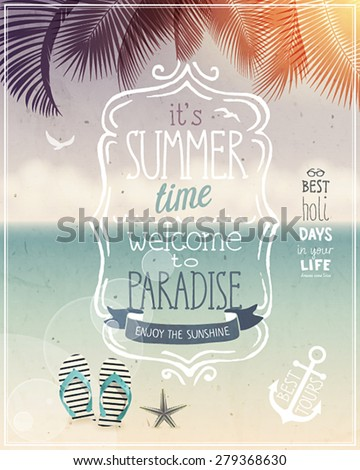 Summer time poster - vintage style. - stock vector