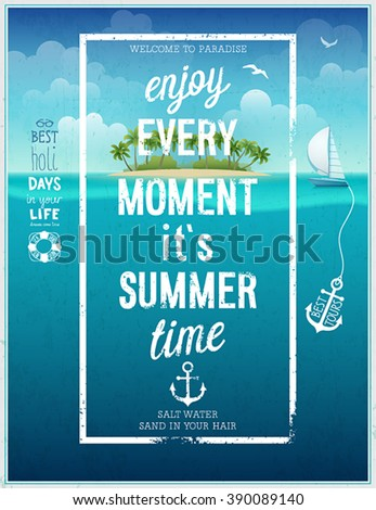 Summer time poster with sea background. Vector illustration. - stock vector