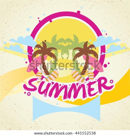 Summer time retro background with text. Vector illustration, summer time background