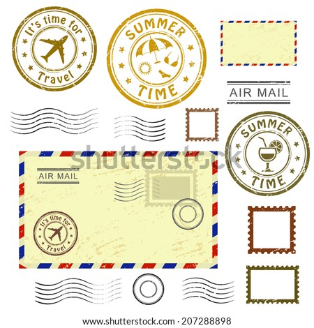 Summer time, set of postal stamps and postmarks, isolated on white background, vector illustration. - stock vector