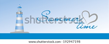 Summer time sign on the blue background with lighthouse - stock vector
