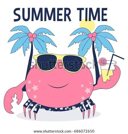 pineapple flamingo summertime vectorillustration template