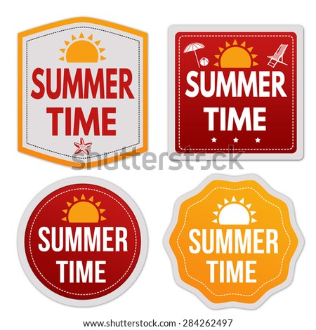 Summer time stickers set on white background, vector illustration