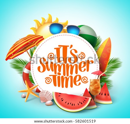 Summer Time Vector Banner Design With White Circle For Text And Colorful Beach Elements In