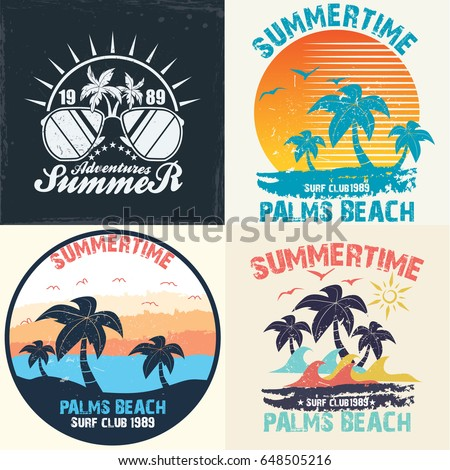 Summer Time Vector Illustration Vintage Graphic Stock Photo