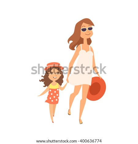 Summer time. Vector illustration of mother and daughter walking to the sea. Cute family enjoy summer vacation at the beach.  Cartoon characters of young woman and little girl. - stock vector