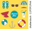 Summer time vector set of illustrations, can be used like a greeting card, web icons, background - stock vector