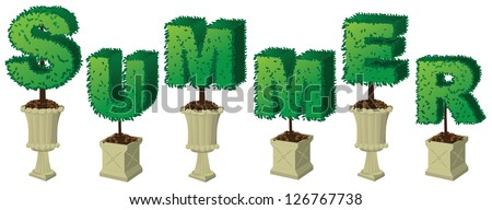 Summer Topiary Word EPS 8 vector, no open shapes or paths, grouped for easy editing. - stock vector