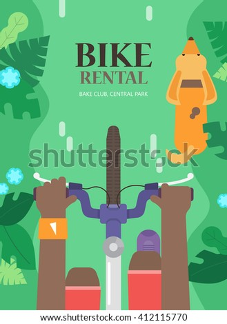 Summer tourist concept of flyers with bicycle, man and dog in the urban environment, top view. The vector background for bike rental. Bright poster for hire bike tours for tourists and city visitors. - stock vector