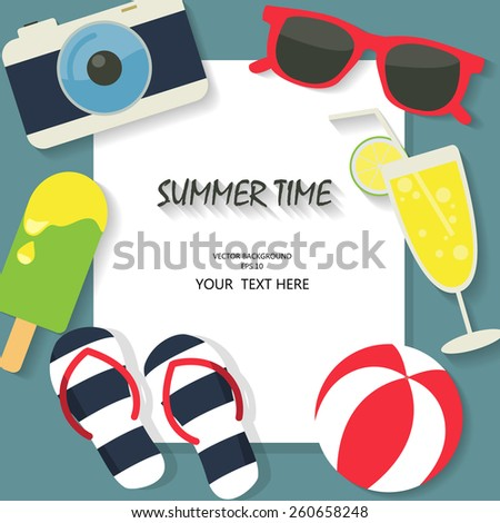 summer, travel,  and vacation background, beach  fun and color concept, text can be added - stock vector