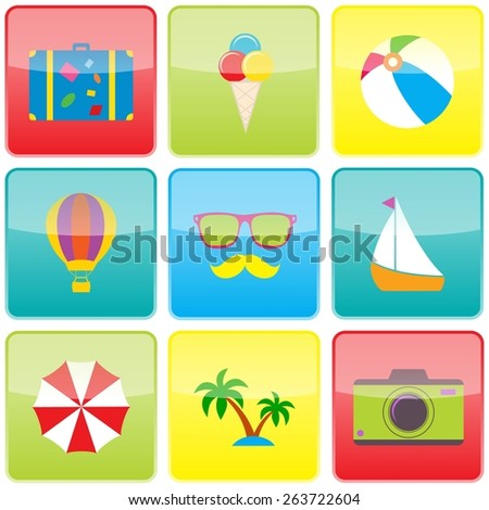 Summer travel and vacation icon collection