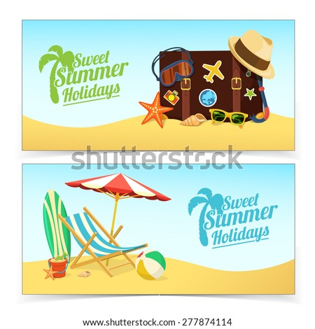 Summer travel banners. Tropic vacation background design. - stock vector