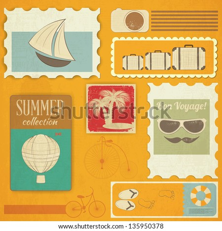 Summer Travel Card in Vintage Style. Grunge Vacation Postcard with Summer Items in Old Style. Vector Illustration.
