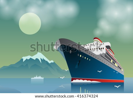 Summer travel cruise ship. Sea landscape. Vintage art deco poster illustration. Seaway line connection transport. Illustration of vacation and cruise.  - stock vector