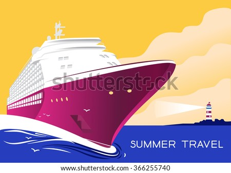 Summer travel cruise ship. Vintage art deco poster illustration. Seaway line connection transport. lllustration of vacation and cruise. Lighthouse on mountain. - stock vector