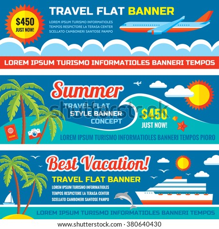 Summer travel - decorative horizontal vector banners set in flat style design trend. Summer travel vector backgrounds. Summer vacation layout. Summer, travel and transport flat icons. Design elements. - stock vector