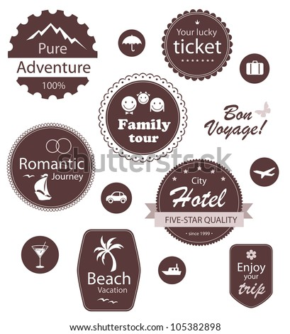 Summer travel design. Editable icon and emblem set - stock vector