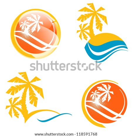 Summer Travel Icon Set With Tropic Palms and Abstract Sea - stock vector