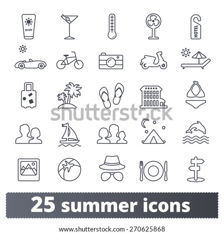 Summer travel icons: vector set of vacation, tourism and transport signs. Outline series. - stock vector