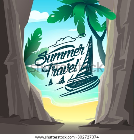 Summer travel poster. Vector illustration. Summer holiday background beach with a palm tree, sand and sun - stock vector