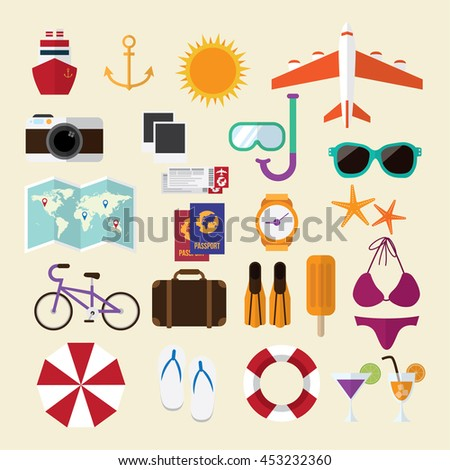 summer travel. stuff for holiday journey. icons sign and symbols.