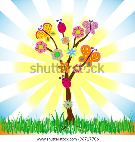 Summer tree background vector for different uses - stock vector