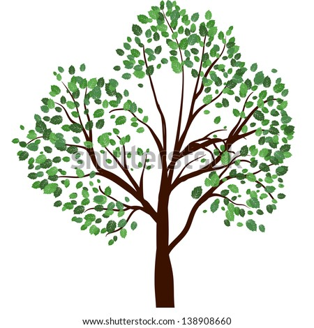 Summer tree with green leaves. EPS 10 vector illustration. - stock vector
