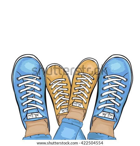 Summer trendy sports shoes. Feet in sports shoes sneakers. A couple in love. Vector illustration - stock vector