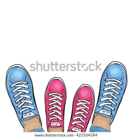 Summer trendy sports shoes. Feet in sports shoes sneakers. Loving couple in gym shoes. Vector illustration - stock vector