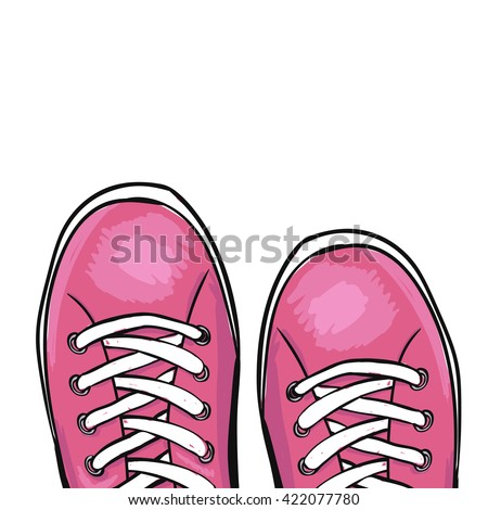 Summer trendy sports shoes. Pink sneakers. Vector - stock vector