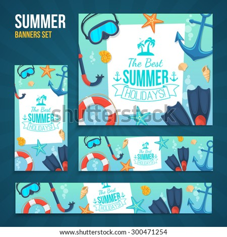 Summer tropic vacation backgrounds design. Sea shore and swimming accessories. Various formats easy to edit. - stock vector