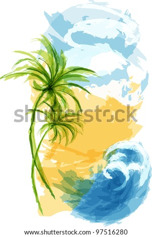 Summer tropical background. EPS10 - stock vector