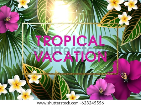 Summer Tropical Background For Party Or Wedding Invitation, Flyer Or Travel  Advertising. Exotic Plants