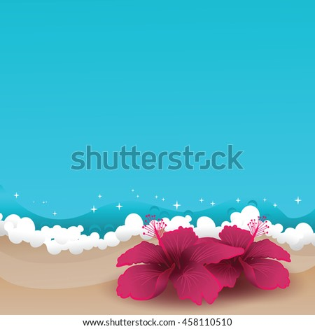 Summer tropical background. Two hibiscuses laying at the sand near azure ocean waves. Copy space. Vector illustration. - stock vector