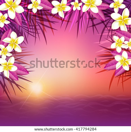 Summer tropical background with palm leaves and flowers. Tropical sunset and sea. - stock vector