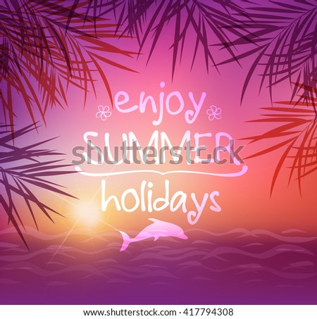 Summer tropical background with palm leaves. Tropical sunset and sea. - stock vector