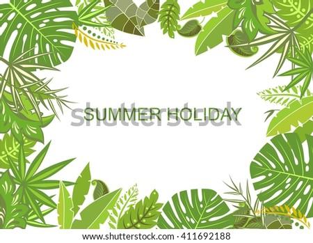 Summer tropical green background - stock vector