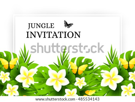 Summer tropical hawaiian background jungle palm stock vector 2018 summer tropical hawaiian background with jungle palm tree leaves exotic flowers and yellow butterflies stopboris Images