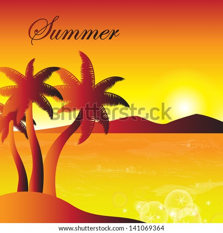 Summer Tropical Poster - Vector Illustration, Graphic Design Editable For Your Design