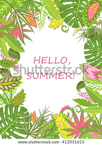 Summer tropical poster with exotic leaves