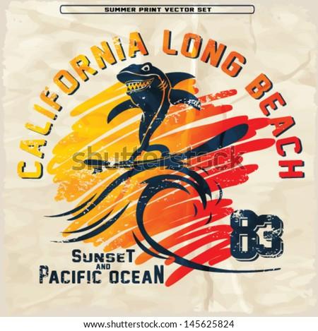 summer tropical surf print - stock vector