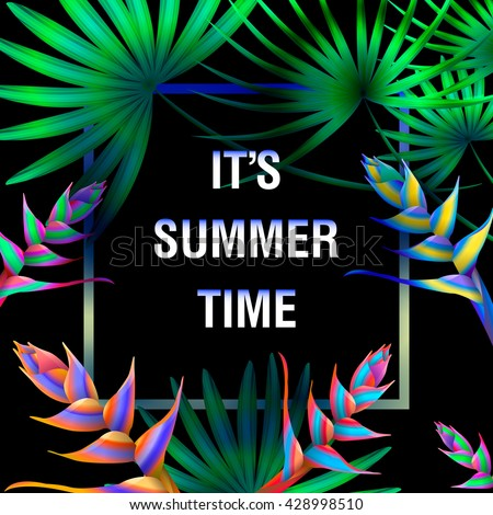 Summer Typographical Background With Tropical Plants