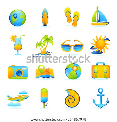 Summer vacation beach holidays icons set with cocktail palm glasses camera isolated vector illustration